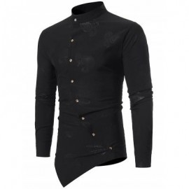 image of MANDARIN COLLAR ASYMMETRICAL BUTTON UP PAISLEY SHIRT (BLACK) S