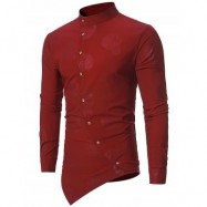 image of MANDARIN COLLAR ASYMMETRICAL BUTTON UP PAISLEY SHIRT (WINE RED) S