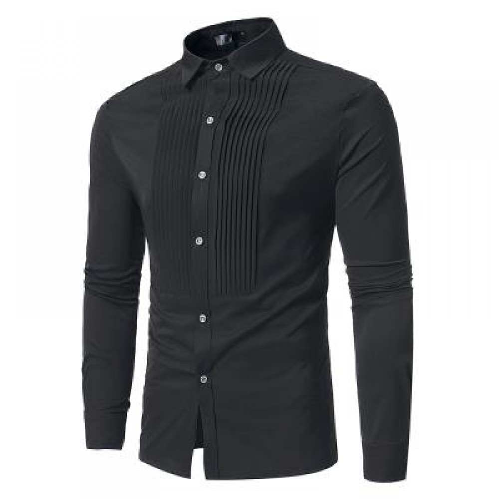 FRONT PLEATED CASUAL LONG SLEEVE SHIRT (BLACK) XL