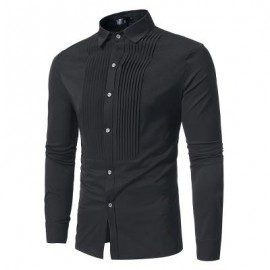 image of FRONT PLEATED CASUAL LONG SLEEVE SHIRT (BLACK) XL