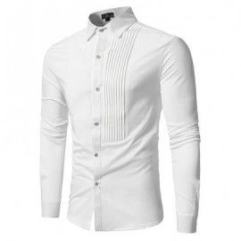 image of FRONT PLEATED CASUAL LONG SLEEVE SHIRT (WHITE) XL