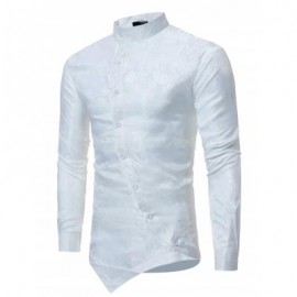 image of BROCADE PAISLEY ASYMMETRICAL HEM SHIRT (WHITE) S