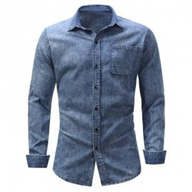 image of TURNDOWN COLLAR POCKET BLEACHED EFFECT CHAMBRAY SHIRT (DENIM BLUE) XL