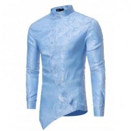 image of BROCADE PAISLEY ASYMMETRICAL HEM SHIRT (BLUE) S