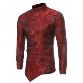 image of BROCADE PAISLEY ASYMMETRICAL HEM SHIRT (RED) S