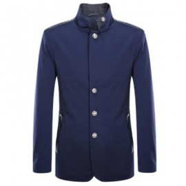 image of STAND COLLAR SINGLE BREASTED LEATHER SPLICED COAT ODM DESIGNER (PURPLISH BLUE S/M/L/XL/2XL/3XL) 3XL
