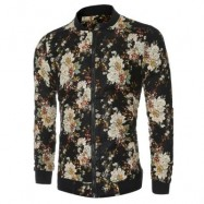 image of STYLISH FLORAL PRINT STAND COLLAR MALE LONG SLEEVE JACKET (BLACK) L