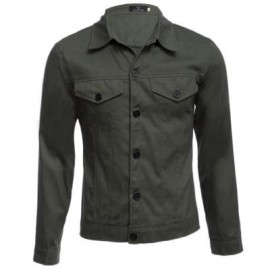 image of CASUAL LETTER PRINT POCKET DECORATION MALE LONG SLEEVE JACKET (ARMY GREEN) M