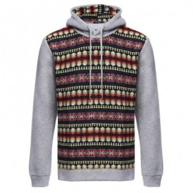 image of CASUAL COLOR BLOCK PATTERN PRINT MALE LONG SLEEVE HOODIE (LIGHT GRAY) M