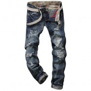 image of FRAYED ZIPPER FLY FIVE-POCKET STRAIGHT LEG RIPPED JEANS (DEEP BLUE) 32