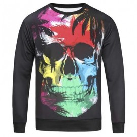 image of CREW NECK COLOR BLOCK SKULL AND LEAVES PRINT SWEATSHIRT (COLORMIX) XL