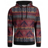 image of KANGAROO POCKET TRIBAL PRINTED HOODIE (COLORMIX) M