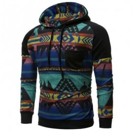 image of RAGLAN SLEEVE TRIBAL PRINTED PULLOVER HOODIE (BLACK) M
