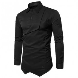 image of FAUX TWINSET DOUBLE BREASTED ASYMMETRIC SHIRT (BLACK) M