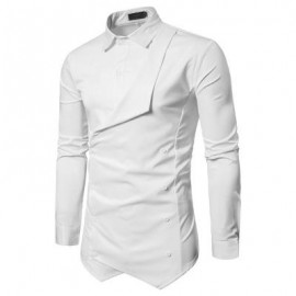 image of FAUX TWINSET DOUBLE BREASTED ASYMMETRIC SHIRT (WHITE) M