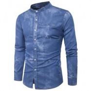 image of TURNDOWN COLLAR TIE DYE EDGING DENIM SHIRT (BLUE) L