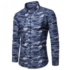image of TURNDOWN COLLAR CAMOUFLAGE DENIM SHIRT (DEEP BLUE) L