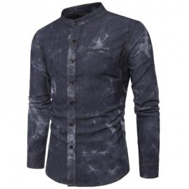 image of TURNDOWN COLLAR TIE DYE EDGING DENIM SHIRT (BLACK) L