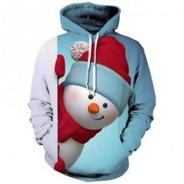 image of KANGAROO POCKET SNOWMAN 3D PRINT CHRISTMAS HOODIE (LIGHT BLUE) XL