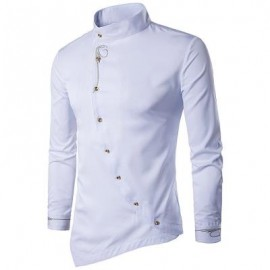 image of OBLIQUE BUTTON EMBROIDERED LONG SLEEVE SHIRT (WHITE) S