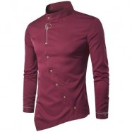 image of OBLIQUE BUTTON EMBROIDERED LONG SLEEVE SHIRT (RED) S