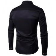 image of OBLIQUE BUTTON EMBROIDERED LONG SLEEVE SHIRT (BLACK) M