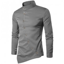 image of OBLIQUE BUTTON EMBROIDERED LONG SLEEVE SHIRT (GRAY) S