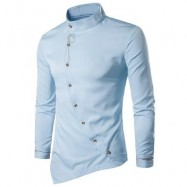 image of OBLIQUE BUTTON EMBROIDERED LONG SLEEVE SHIRT (LIGHT BLUE) M