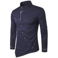 image of OBLIQUE BUTTON EMBROIDERED LONG SLEEVE SHIRT (PURPLISH BLUE) 2XL