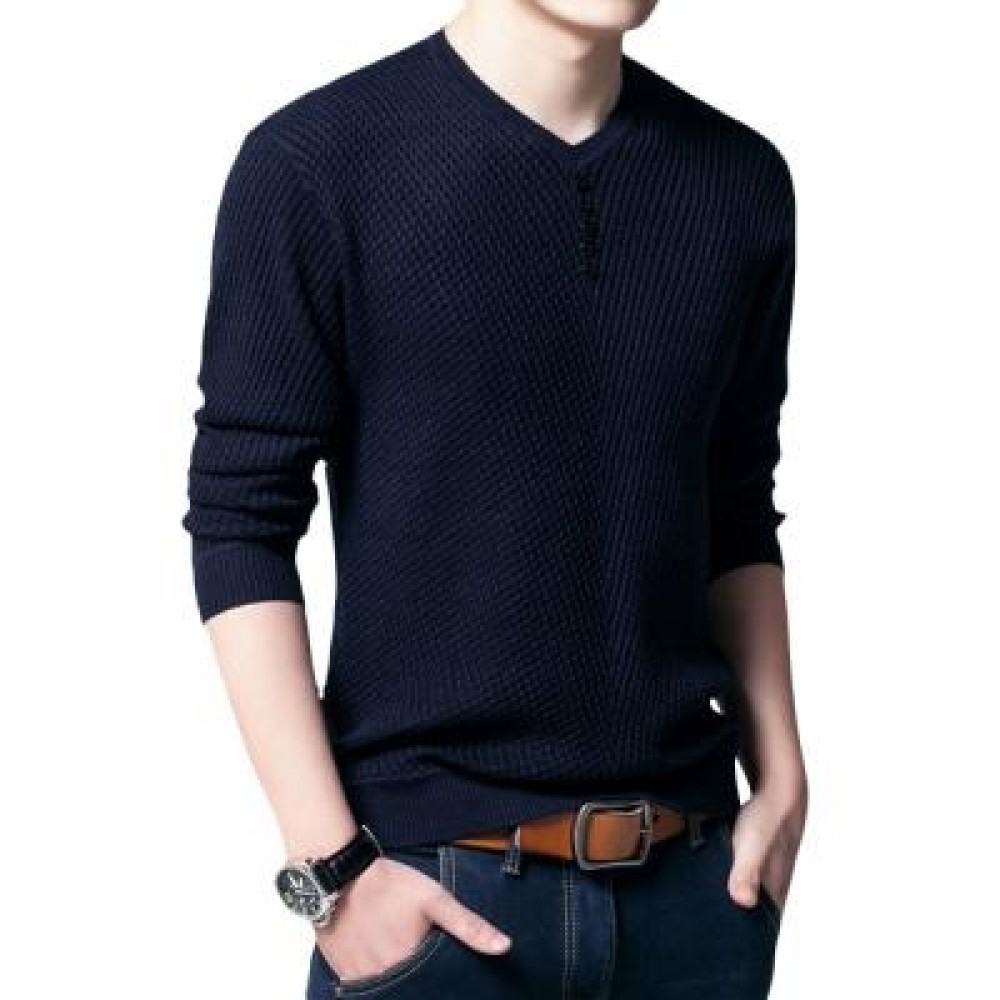SIMPLE DESIGN LONG SLEEVE ROUND NECK MALE PULLOVER SWEATER (NAVY BLUE M/L/XL/XXL) XL