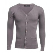 image of CASUAL PURE COLOR V NECK LONG SLEEVE MALE SLIM FIT KNITWEAR (KHAKI M/L/XL/XXL) M