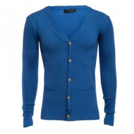 image of CASUAL PURE COLOR V NECK LONG SLEEVE MALE SLIM FIT KNITWEAR (SAPPHIRE BLUE M/L/XL/XXL) M