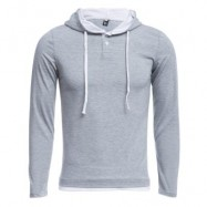 image of CASUAL PURE COLOR LONG SLEEVE MALE SLIM FIT HOODED SHIRT (LIGHT GRAY M/L/XL/XXL) L