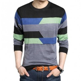 image of STYLISH STRIPE ROUND NECK PULLOVER MALE KNITWEAR (BLUE M/L/XL/XXL) M