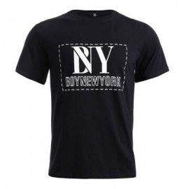 image of BOYNEWYORK LETTER PRINTED ROUND NECK SHORT SLEEVE T-SHIRT FOR MEN (BLACK S/M/L/XL) L