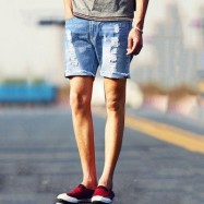 image of STREET STYLE BUTTON DESIGN FRAYED DENIM SHORTS FOR MEN (DEEP BLUE) 30