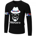 HIPSTER GRAPHIC LONG SLEEVE COOL T-SHIRT (BLACK) L