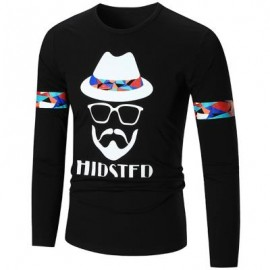 image of HIPSTER GRAPHIC LONG SLEEVE COOL T-SHIRT (BLACK) L