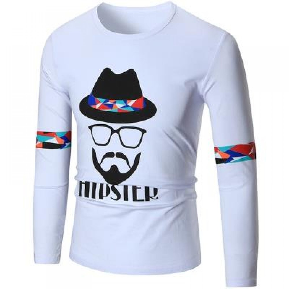 HIPSTER GRAPHIC LONG SLEEVE COOL T-SHIRT (WHITE) XL