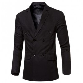image of SIMPLE DESIGN SOLID COLOR POCKET DECORATION DOUBLE-BREASTED MALE SUIT JACKET (BLACK) M