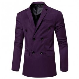 image of SIMPLE DESIGN SOLID COLOR POCKET DECORATION DOUBLE-BREASTED MALE SUIT JACKET (DEEP PURPLE) 3XL