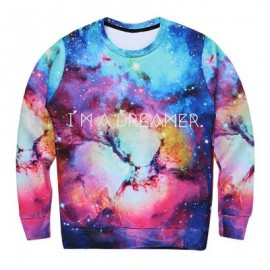 image of GRAPHIC PRINT GALAXY STARRY SKY SWEATSHIRT (COLORMIX) M