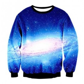 image of SPACE PRINT CREWNECK GALAXY SWEATSHIRT (COLORMIX) L