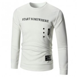 image of PULLOVER BUTTON EMBELLISH GRAPHIC SWEATSHIRT (WHITE) L
