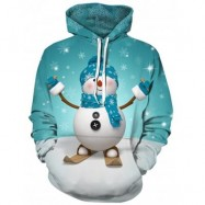 image of 3D SNOWMAN AND SNOWFLAKE PRINT PULLOVER HOODIE (BLUE GREEN) L