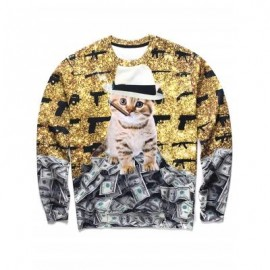 image of 3D KITTEN PRINT CREWNECK SWEATSHIRT (COLORMIX) 2XL