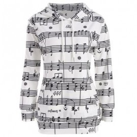 image of OMBRE MUSICAL NOTES PRINT KANGAROO HOODIE (WHITE) S