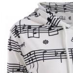 OMBRE MUSICAL NOTES PRINT KANGAROO HOODIE (WHITE) S