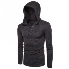 image of HOODED LACE UP LONG SLEEVE KNITTED SWEATER (DEEP GRAY) 2XL