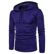 image of HOODED LACE UP LONG SLEEVE KNITTED SWEATER (ROYAL) L
